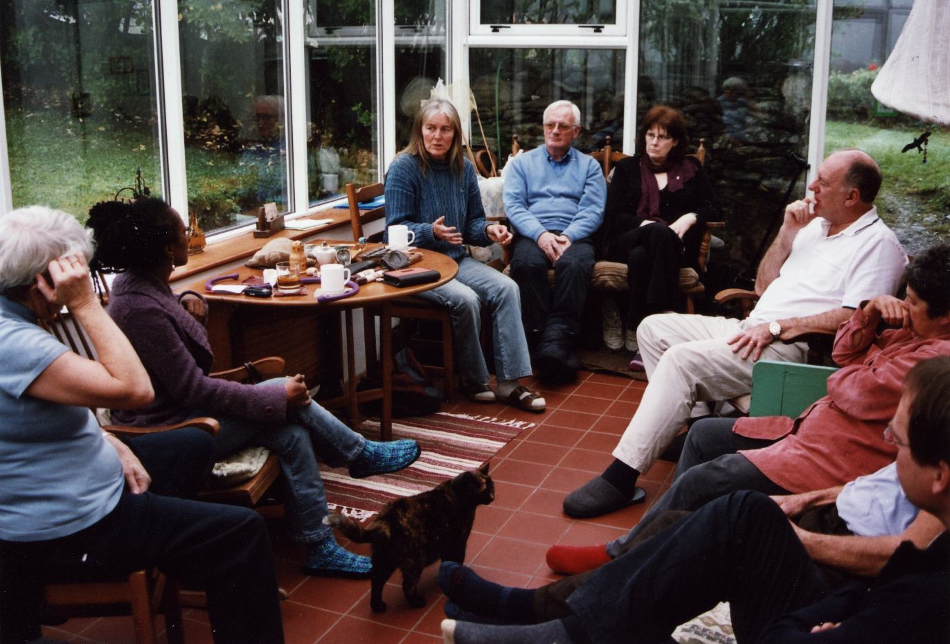 The group at work in the conservatory